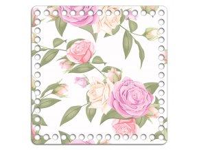 Dno s obrázkem čtverec 20 x 20 cm malované růže na bílé