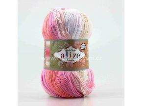 příze Bella Batik 2807 růžovo-krémová
