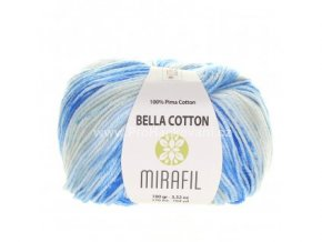 příze Bella Cotton Smart 514 odstíny modré s krémovou
