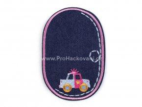 Nažehlovací záplata oválná 7,5 x 11,5 cm auto s růžovým obšitím