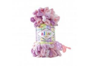 příze Puffy color 6051 bílá, růžová, fialová