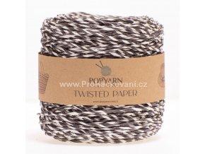 Papírová příze Twisted Paper 513 hnědo-bílá
