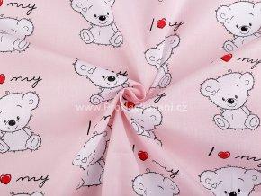 bavlnena latka medvidek na ruzove