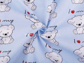 bavlnena latka medvidek na modre