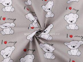 bavlnena latka medvidek na sede