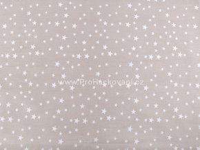 Bavlněná látka jemná šedobéžová s hvězdičkami