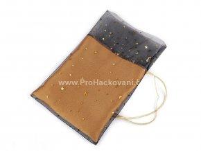 Vánoční dárkový pytlík 19x27 cm s hvězdami zlatohnědá se zlatou