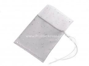 Vánoční dárkový pytlík 19x27 cm s hvězdami šedý se stříbrnou