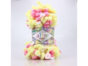 Příze Puffy color 6369 bílá, žlutá, růžová, žlutá, růžová