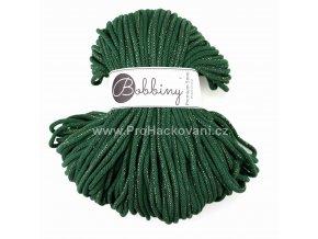 Bobbiny šňůry Premium Lesní zelená se zlatou nitkou (Golden Pine green)