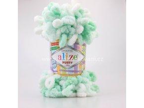 Příze Puffy color 6341 jemně zelená s bílou