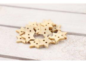 Dřevěný knoflík hvězdička Ø 18 mm, 3 ks přírodní