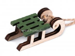 Dřevěná dekorace sáňky zelené