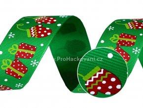 Vánoční rypsová stuha šíře 25 mm zelená