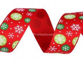 Vánoční rypsová stuha šíře 25 mm červená