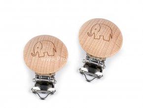 Dětský klip dřevěný 30 mm slon