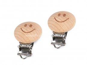 Dětský klip dřevěný 30 mm smajlík