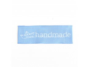 Látková cedulka Handmade s lodičkou světle modrá