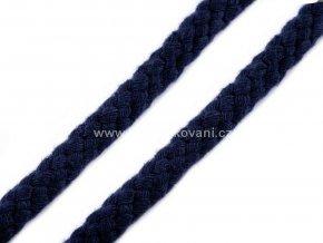 Oděvní bavlněná šňůra Ø10 -12 mm tmavě modrá