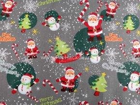 Bavlněná látka vánoční motivy na šedé
