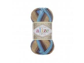 příze Diva batik 3243 Tmavě a světle hnědá, tmavě a světle modrá