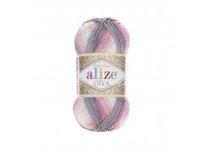 příze Diva batik 3245 Růžová, krémová, šedá
