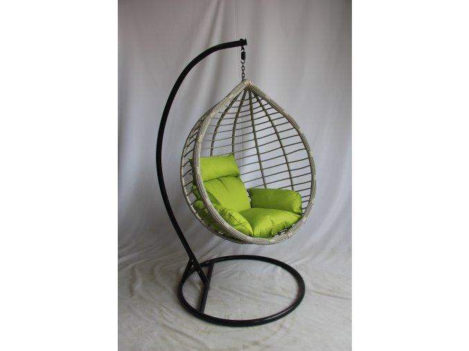 XXL závěsné houpací křeslo (vajíčko) šedá + zelená - umělý ratan