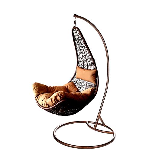 Závěsné houpací křeslo Nela hnědé - umělý ratan