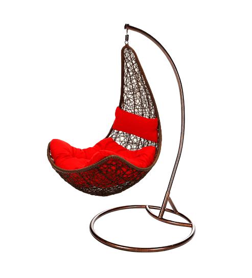 Závěsné houpací křeslo Nela červená - umělý ratan