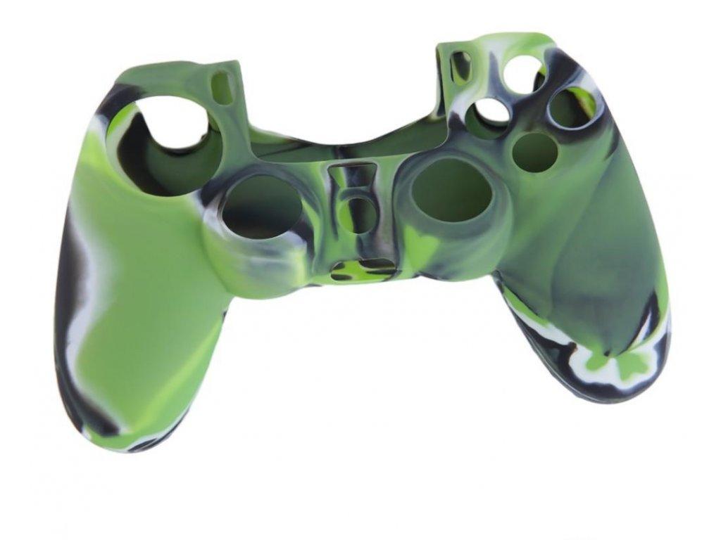 PS4 silikonový obal na ovladač kamufláž zeleno/černý
