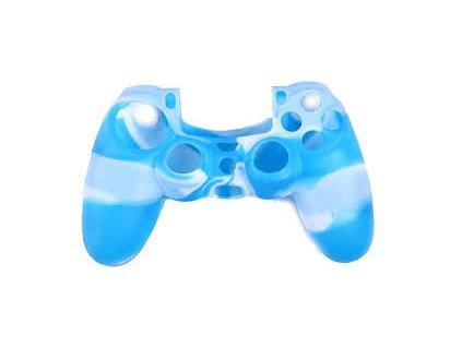 PS4 silikonový obal na ovladač kamufláž modro/bílý