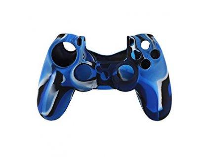 PS4 silikonový obal na ovladač kamufláž modro/černý