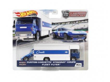 Toys Hot Wheels Premium Car Culture Team Transport Custom Corvette Stingray Coupe Fleet Flyer
