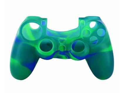 PS4 silikonový obal na ovladač kamufláž zelenomodrý