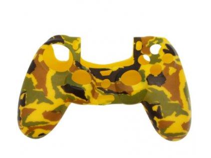 PS4 silikonový obal na ovladač kamufláž žlutobéžovočerný