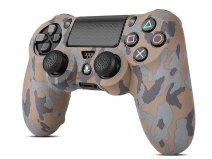 PS4 silikonový obal na ovladač kamufláž hnědobéžový