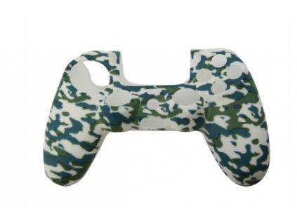 PS4 silikonový obal na ovladač kamufláž zelenobílý