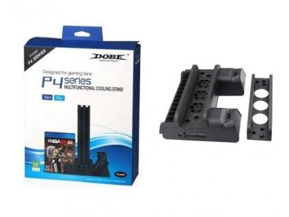 PS4 Multifunkční chladicí stojan se slotem pro hry a dokovací stanicí pro ovladač pro PS4 Slim Pro Dobe