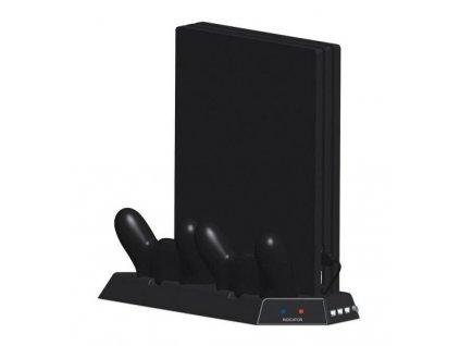 PS4 Multifunkční nabíjecí stojan s vestavěnými chladicími ventilátory a USB HUB černý