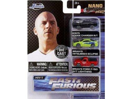 Toys Autíčka Fast and Furious 3ks Pack Nano