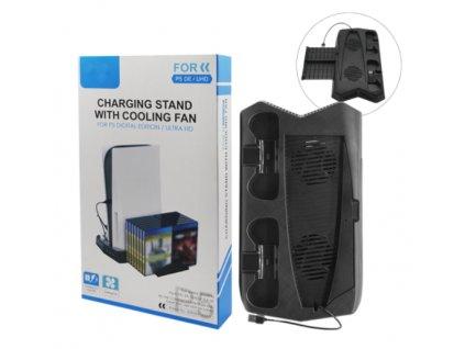 PS5 Nabíjecí stojan s chladicím ventilátorem pro digitální vydání P5ultra HD KJH