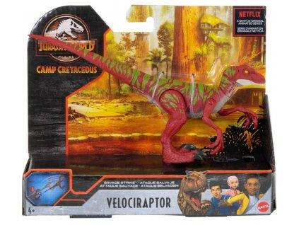 Toys Figurka Jurassic World Camp Cretaceous Dino Rivals Savage Strike Velociraptor Red