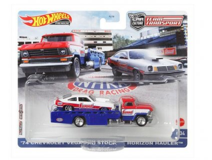 Toys Hot Wheels Premium Car Culture Team Transport 74 Chevrolet Vega Pro Stock and Horizon Hauler