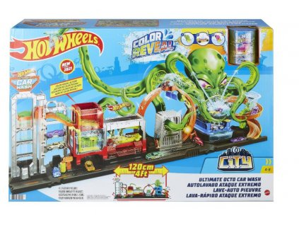 Toys Hot Wheels Color Reveal Ultimate Octo Car Wash Playset and Vehicle
