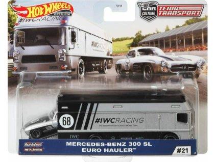 Toys Hot Wheels Premium Car Culture Team Transport Mercedez Benz 300 SL Euro Hauler