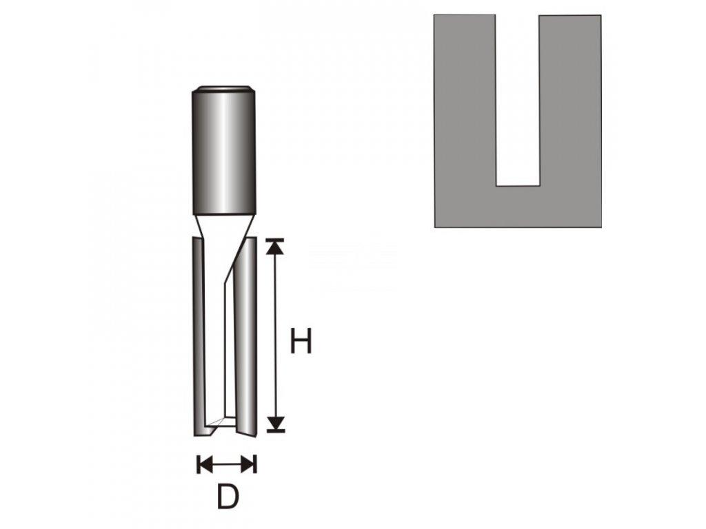 Fréza na dřevo drážkovací 2 destičky, dlouhá T8 D10 H50 mm  + oblíbená pro svou délku břitu 50 mm