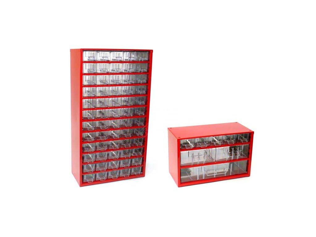 Set skříňek na drobné součástky do dílny Mars, 6750C + 6733C - červená
