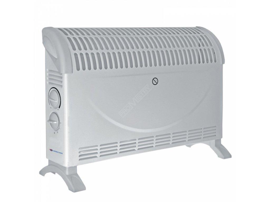 Elektrický přímotop - teplomet s ventilátorem 2000W Turbo DESCON DA-K2000 T  + termostat a vestavěný ventilátor