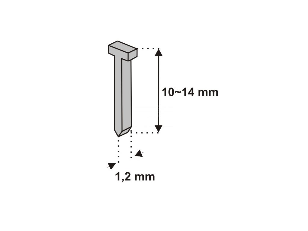 Nastřelovací hřebíky do sponkovačky 12 mm 1000 ks tlouštka 1,2 vz. D11T DEDRA 11Z312