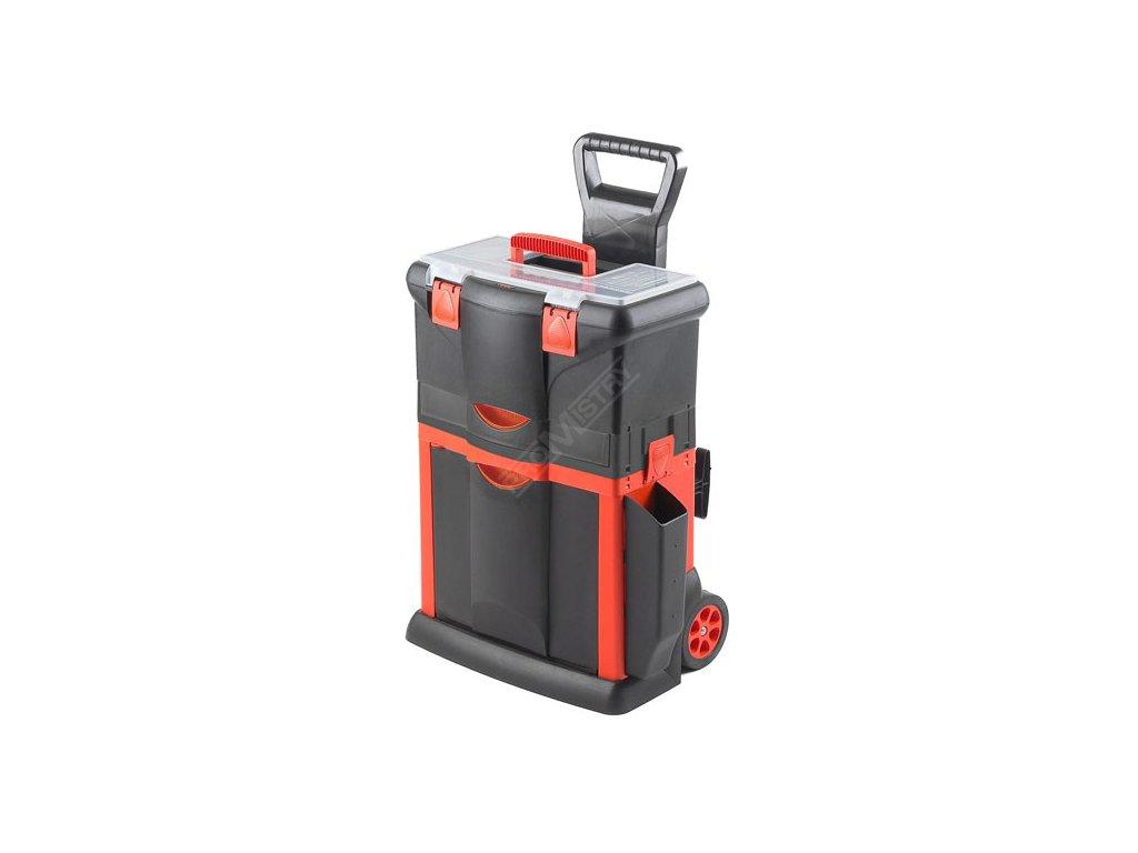 Plastový pojízdný kufr, tažná rukojeť 460x330x660mm s 1x…